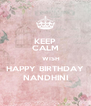 KEEP CALM       WISH HAPPY BIRTHDAY NANDHINI - Personalised Poster A4 size