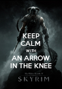 KEEP CALM WITH AN ARROW IN THE KNEE - Personalised Poster A4 size