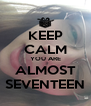 KEEP CALM YOU ARE ALMOST SEVENTEEN - Personalised Poster A4 size