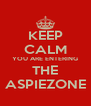 KEEP CALM YOU ARE ENTERING THE ASPIEZONE - Personalised Poster A4 size