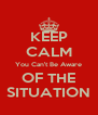 KEEP CALM You Can't Be Aware OF THE SITUATION - Personalised Poster A4 size
