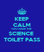 KEEP CALM YOU HAVE THE  SCIENCE  TOILET PASS - Personalised Poster A4 size