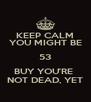 KEEP CALM YOU MIGHT BE 53 BUY YOU'RE  NOT DEAD, YET - Personalised Poster A4 size