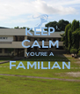 KEEP CALM YOU'RE A FAMILIAN  - Personalised Poster A4 size