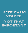 KEEP CALM YOU'RE  NOT THAT IMPORTANT - Personalised Poster A4 size