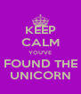 KEEP CALM YOU'VE FOUND THE UNICORN - Personalised Poster A4 size