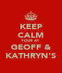 KEEP CALM YOUR AT GEOFF & KATHRYN'S - Personalised Poster A4 size