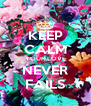 KEEP CALM YOUR LOVE NEVER FAILS - Personalised Poster A4 size