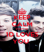 KEEP CALM YVETTE 1D LOVES YOU  - Personalised Poster A4 size