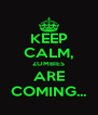 KEEP CALM, ZOMBIES ARE COMING... - Personalised Poster A4 size