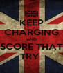KEEP CHARGING AND SCORE THAT TRY  - Personalised Poster A4 size