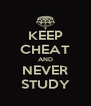 KEEP CHEAT AND NEVER STUDY - Personalised Poster A4 size