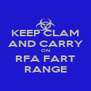 KEEP CLAM AND CARRY ON RFA FART RANGE - Personalised Poster A4 size