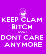 KEEP CLAM  BITCH  CUZ I  DONT CARE  ANYMORE - Personalised Poster A4 size