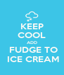 KEEP COOL ADD  FUDGE TO  ICE CREAM - Personalised Poster A4 size