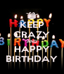 KEEP CRAZY AND HAPPY BIRTHDAY - Personalised Poster A4 size