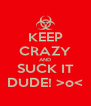 KEEP CRAZY AND SUCK IT DUDE! >o< - Personalised Poster A4 size
