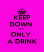 KEEP DOWN  ITS  ONLY  A DRINK - Personalised Poster A4 size