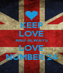 KEEP LOVE AND ALWAYS LOVE NUMBER 24 - Personalised Poster A4 size
