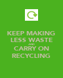 KEEP MAKING LESS WASTE AND CARRY ON RECYCLING - Personalised Poster A4 size