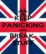 KEEP PANICKING AND BREAK  STUFF - Personalised Poster A4 size