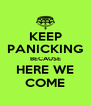 KEEP PANICKING BECAUSE HERE WE COME - Personalised Poster A4 size