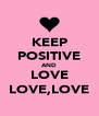 KEEP POSITIVE AND LOVE LOVE,LOVE - Personalised Poster A4 size