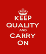 KEEP QUALITY AND CARRY ON - Personalised Poster A4 size
