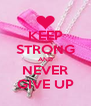 KEEP STRONG AND NEVER GIVE UP - Personalised Poster A4 size