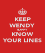 KEEP WENDY HAPPY KNOW YOUR LINES - Personalised Poster A4 size