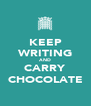 KEEP WRITING AND CARRY CHOCOLATE - Personalised Poster A4 size