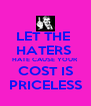 LET THE  HATERS  HATE CAUSE YOUR COST IS PRICELESS - Personalised Poster A4 size
