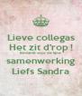 Lieve collegas Het zit d'rop ! Bedankt voor de fijne samenwerking Liefs Sandra - Personalised Poster A4 size