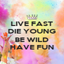LIVE FAST DIE YOUNG  BE WILD HAVE FUN - Personalised Poster A4 size