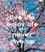 live life enjoy life AND never give up - Personalised Poster A4 size