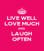 LIVE WELL LOVE MUCH AND  LAUGH OFTEN - Personalised Poster A4 size
