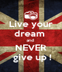Live your dream  and  NEVER   give up !  - Personalised Poster A4 size