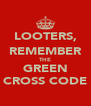 LOOTERS, REMEMBER THE GREEN CROSS CODE - Personalised Poster A4 size