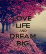 LOVE  LIFE AND DREAM BIG - Personalised Poster A4 size
