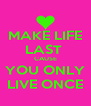 MAKE LIFE LAST  CAUSE YOU ONLY LIVE ONCE - Personalised Poster A4 size