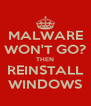 MALWARE WON'T GO? THEN REINSTALL WINDOWS - Personalised Poster A4 size