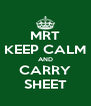 MRT KEEP CALM AND CARRY SHEET - Personalised Poster A4 size