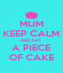 MUM KEEP CALM AND EAT  A PIECE OF CAKE - Personalised Poster A4 size