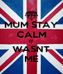 MUM STAY CALM IT WASNT ME - Personalised Poster A4 size
