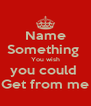 Name Something  You wish you could  Get from me - Personalised Poster A4 size