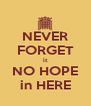 NEVER FORGET it NO HOPE in HERE - Personalised Poster A4 size