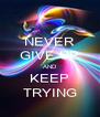 NEVER GIVE UP AND KEEP TRYING - Personalised Poster A4 size