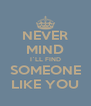 NEVER MIND I`LL FIND SOMEONE LIKE YOU - Personalised Poster A4 size