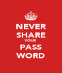 NEVER SHARE YOUR PASS WORD - Personalised Poster A4 size