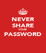 NEVER SHARE YOUR PASSWORD  - Personalised Poster A4 size